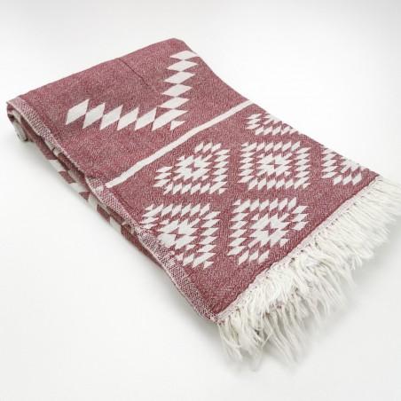 aztec pattern beach towel burgundy