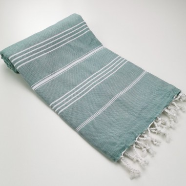 Turkish peshtemal towel dark sea green