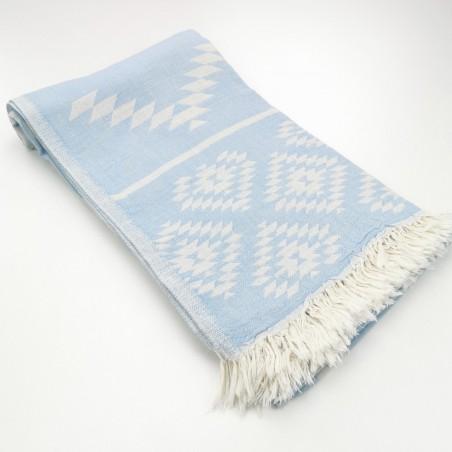 aztec pattern beach towel pastel blue