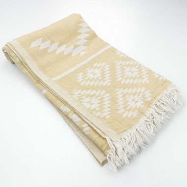 aztec pattern beach towel mustard