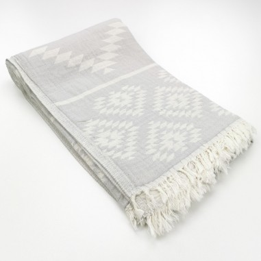 aztec pattern beach towel light grey