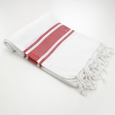 fouta blanche bandes rouges