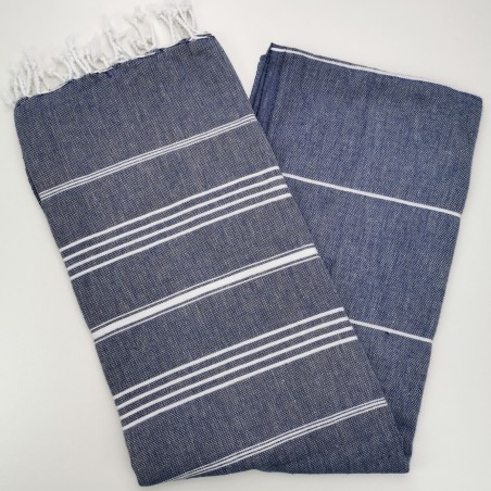 navy blue flat sultan peshtemal towel