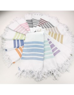 Herringbone woven white Turkish towels
