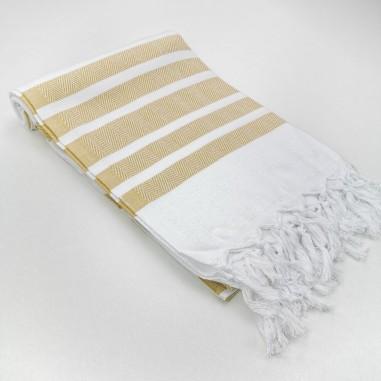 Herringbone weave white Turkish towel...