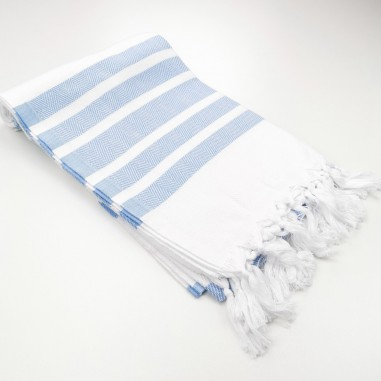 Herringbone weave white Turkish towel...
