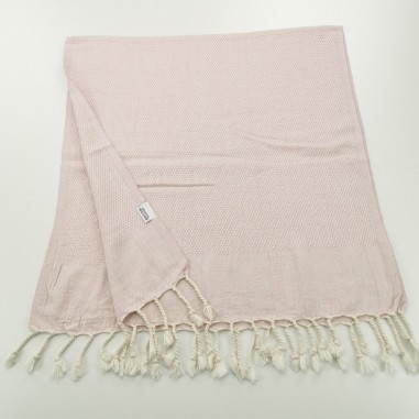 Mini Honeycomb weave Turkish hand towel pale pink