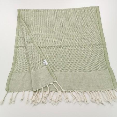 Mini Honeycomb weave Turkish hand towel olive green
