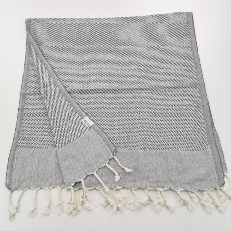 Mini Honeycomb weave Turkish hand towel grey