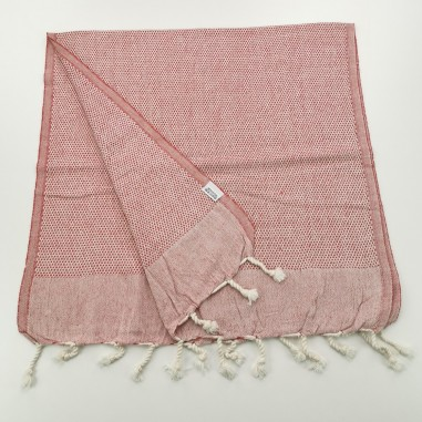 Mini Honeycomb weave Turkish hand towel red