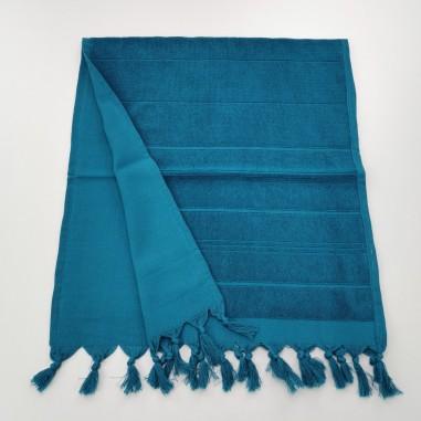 Mini serviette fouta eponge unie cyan bleu