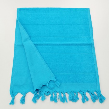 Mini terry Turkish pestemal hand towel turquoise