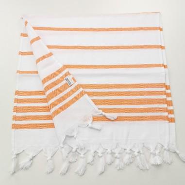 Mini fouta chevron rayures orange