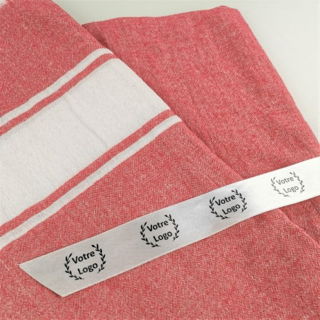 promotional towel with sateen ribon