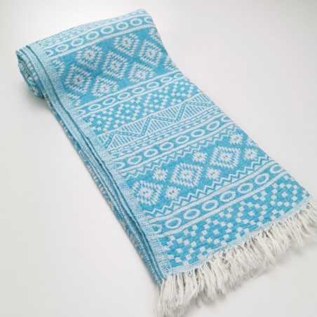 aztec style pattern towel turquoise
