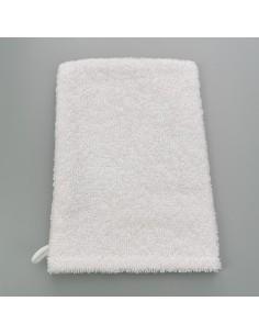 gant de toilette coton blanc eponge