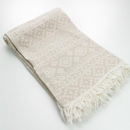 aztec style pattern towel beige