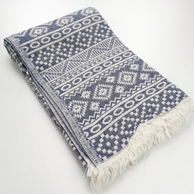 aztec style pattern towel navy