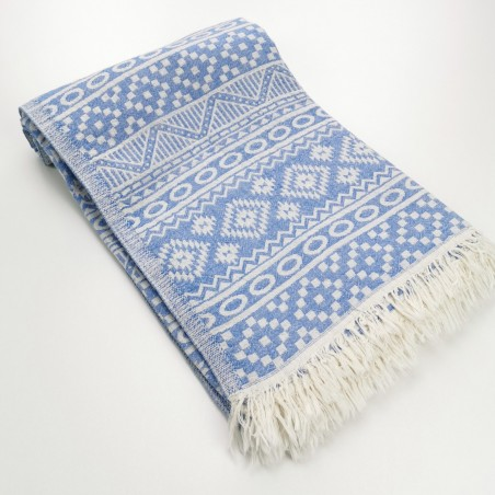 aztec style pattern towel royal blue