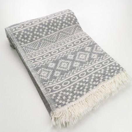 aztec style pattern towel light grey