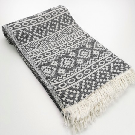 aztec style pattern towel black