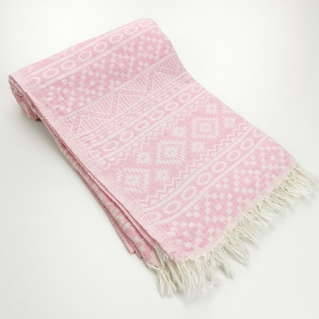 aztec style pattern towel pink