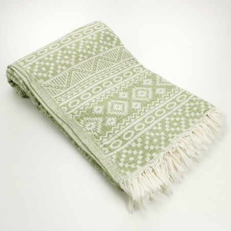 aztec style pattern towel olive green