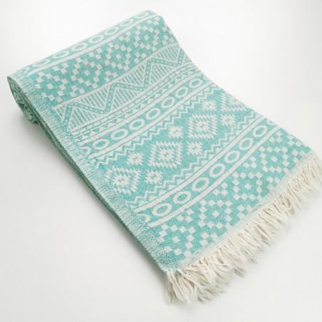 aztec style pattern towel medium green