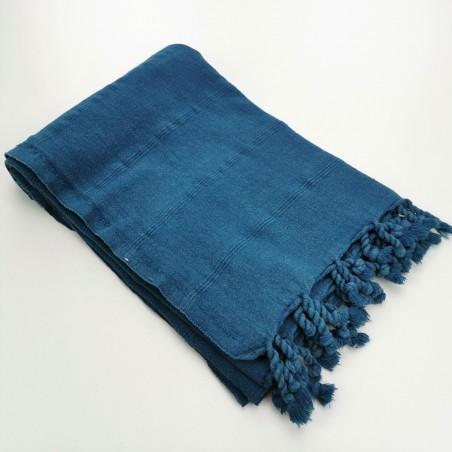 Turkish towel stonewashed fine stitched stripes celestial blue