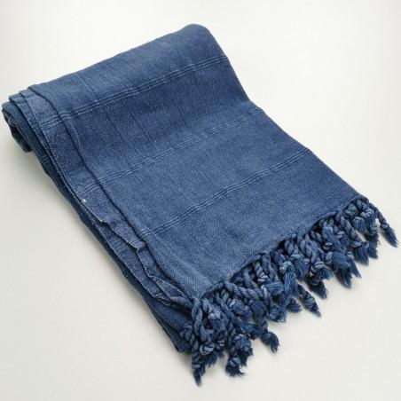 Turkish towel stonewashed fine stitched stripes navy