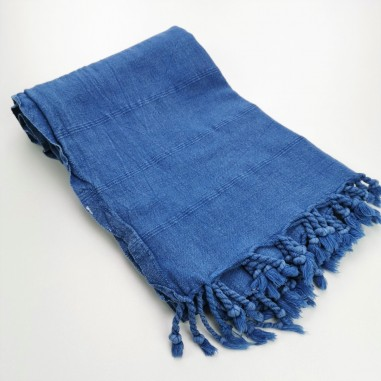 Turkish towel stonewashed fine stitched stripes royal blue