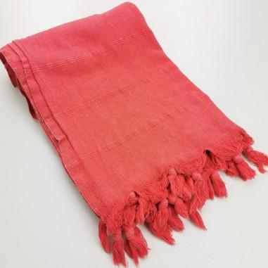 Turkish towel stonewashed fine stitched stripes coral