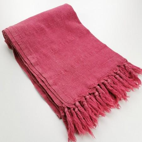 Turkish towel stonewashed fine stitched stripes raspberry