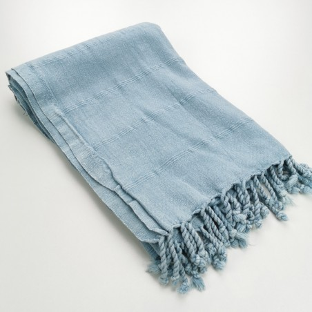 Turkish towel stonewashed fine stitched stripes grey blue