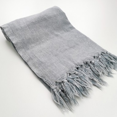 Turkish towel stonewashed fine stitched stripes light grey