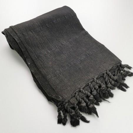 Turkish towel stonewashed fine stitched stripes black charcoal