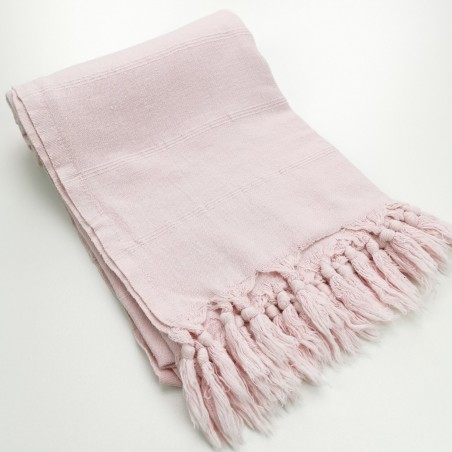 Turkish towel stonewashed fine stitched stripes pale pink