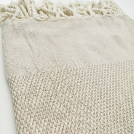 honeycomb turkish peshtemal towel beige