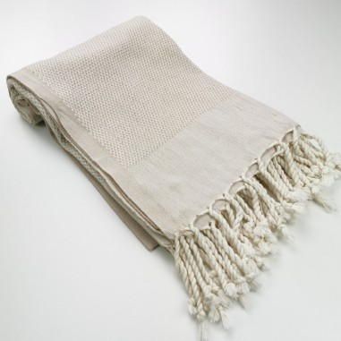 Honeycomb Turkish towel beige ecru