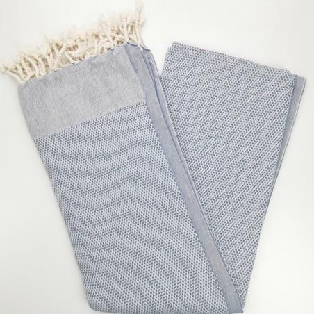 honeycomb turkish peshtemal towel cornflower blue
