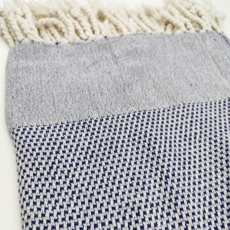 honeycomb turkish peshtemal towel navy blue