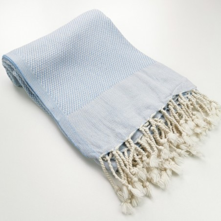 Honeycomb Turkish towel pastel blue
