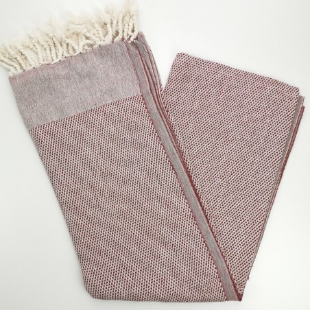 honeycomb turkish peshtemal towel burgundy