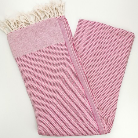 honeycomb turkish peshtemal towel fuchsia