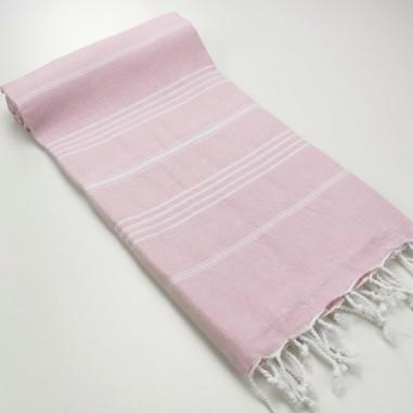 fouta plate sultan rose pastel