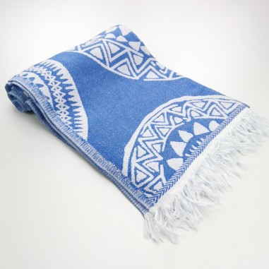 maya pattern turkish beach towel royal blue
