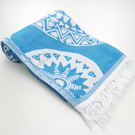 maya pattern turkish beach towel pool blue