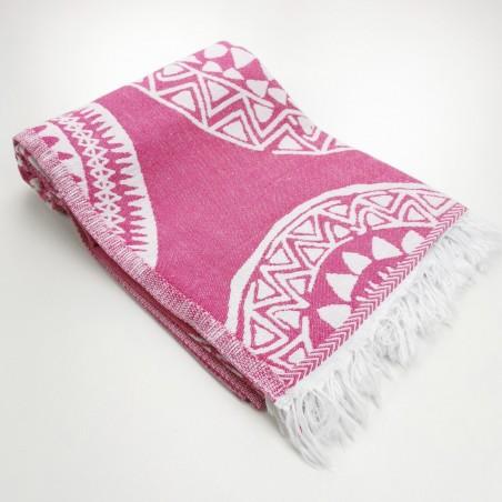 maya pattern turkish beach towel fuchsia