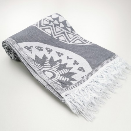 maya pattern turkish beach towel grey