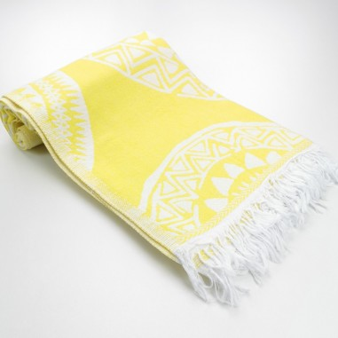 maya pattern turkish beach towel dawn yellow
